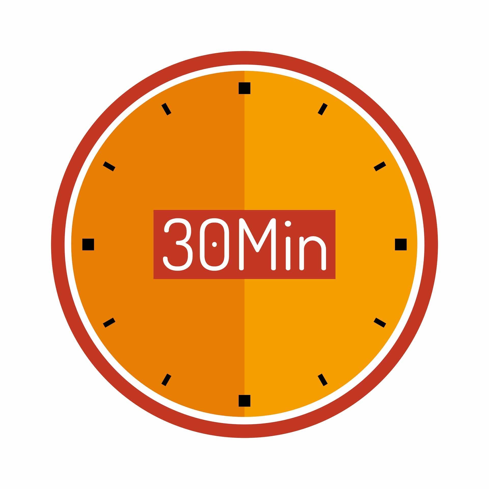 Urskive med 30 minutter